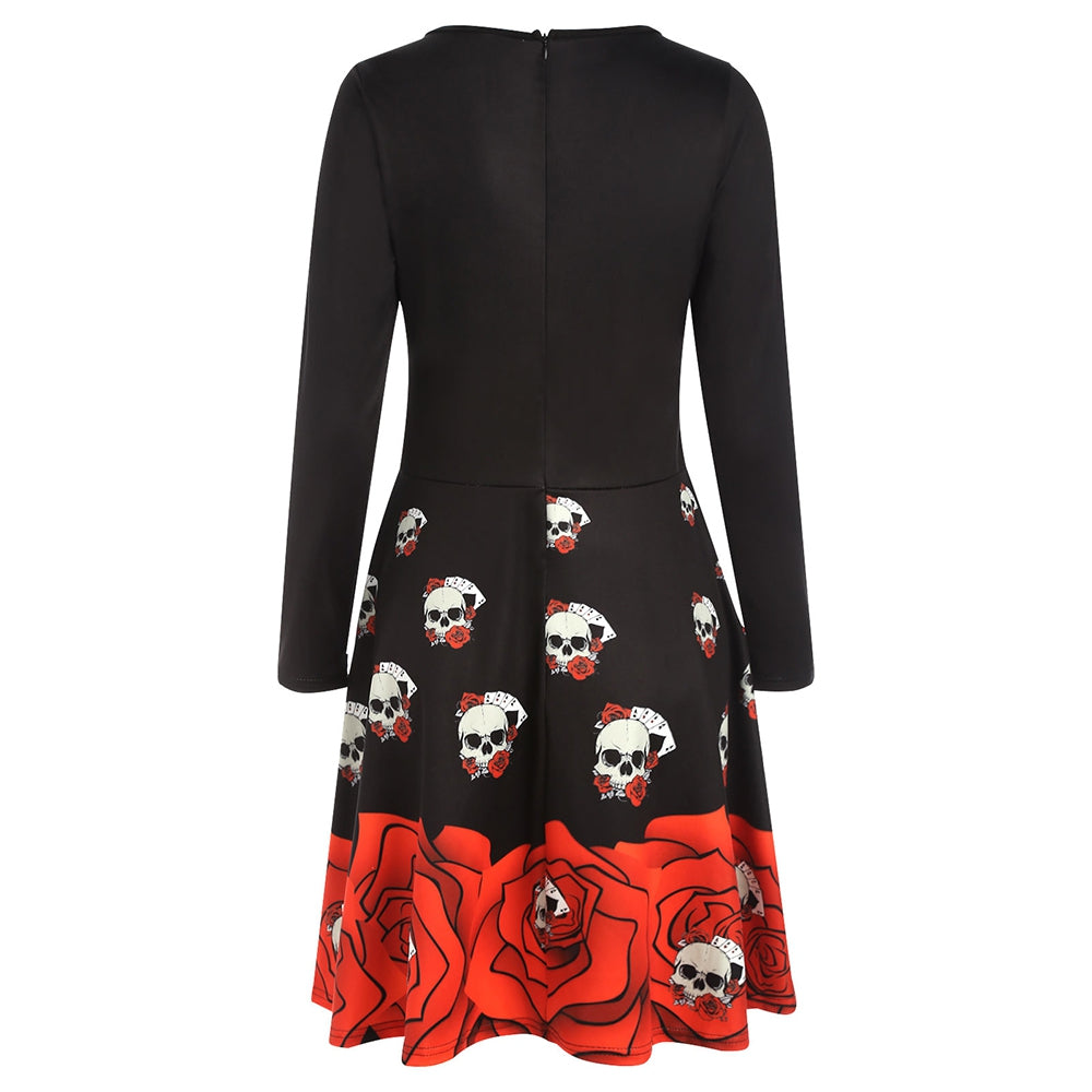 Halloween Skull Print Flare Dress