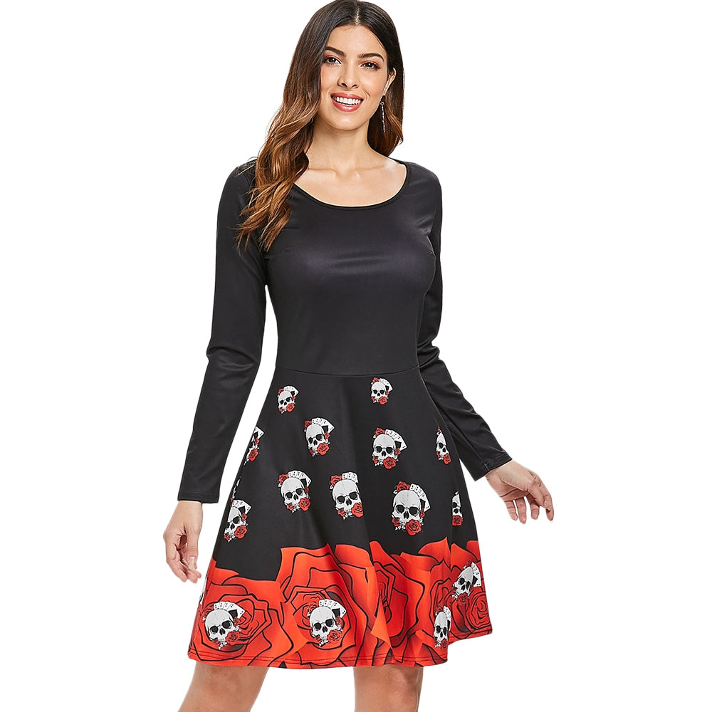 Halloween Skull Print Flare Dress Retro Dresses BLACK S