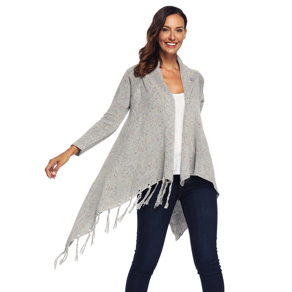 Collarless Long Sleeve Open Front Fringed Asymmetric Button Women Cardigan