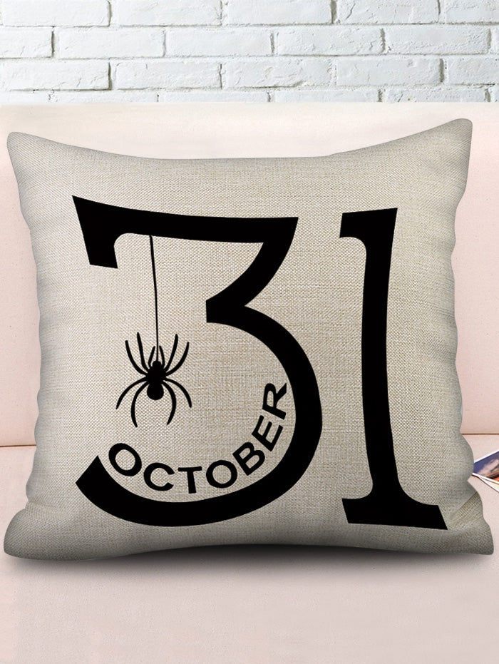 Halloween Date Spider Print Decorative Linen Pillowcase