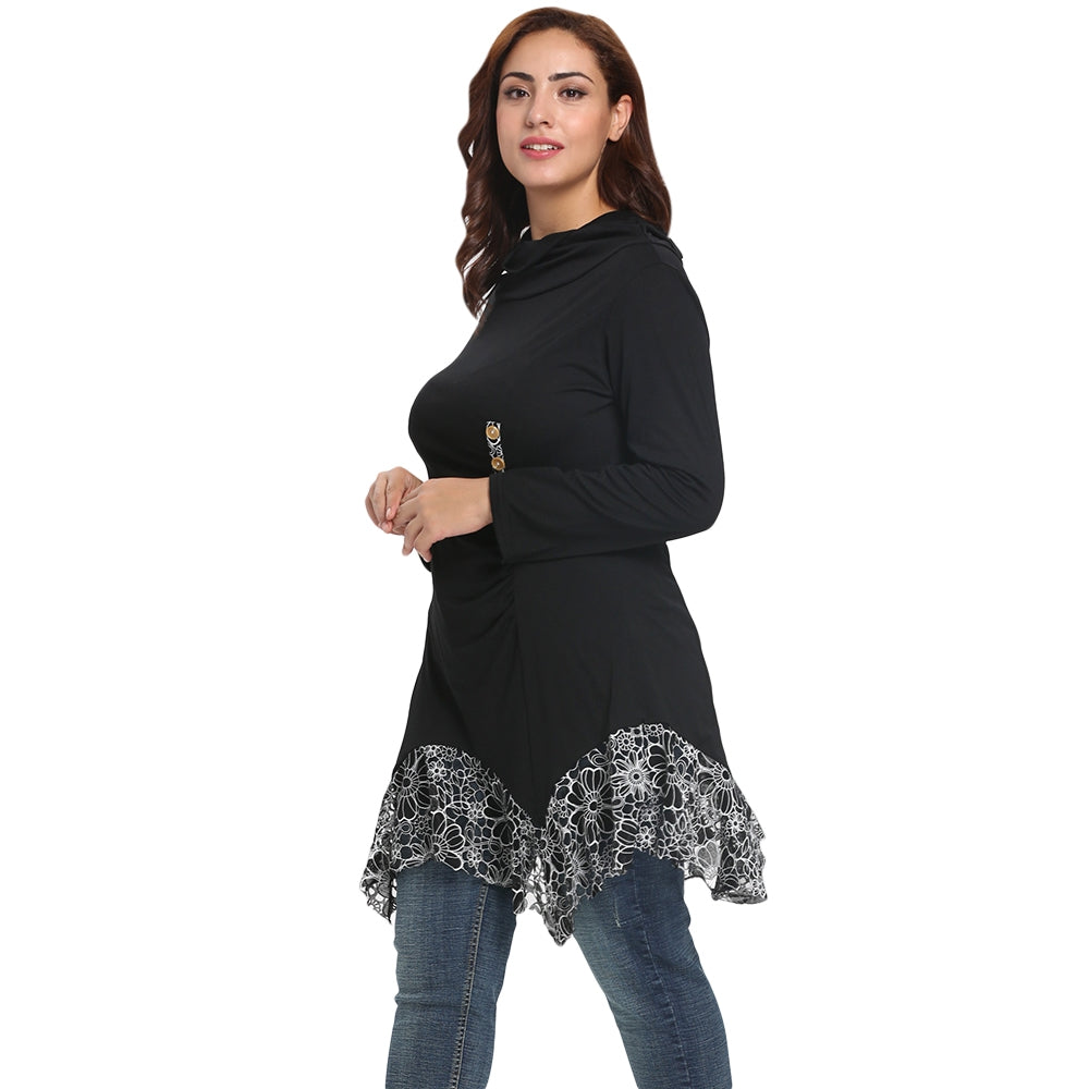 Funnel Collar Long Sleeve Spliced Lace Asymmetric Plus Size Women T-shirt