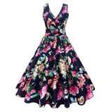 Plus Size Floral Printed Vintage Gown Dress Plus Size Women's Clothing FLORAL 3XL