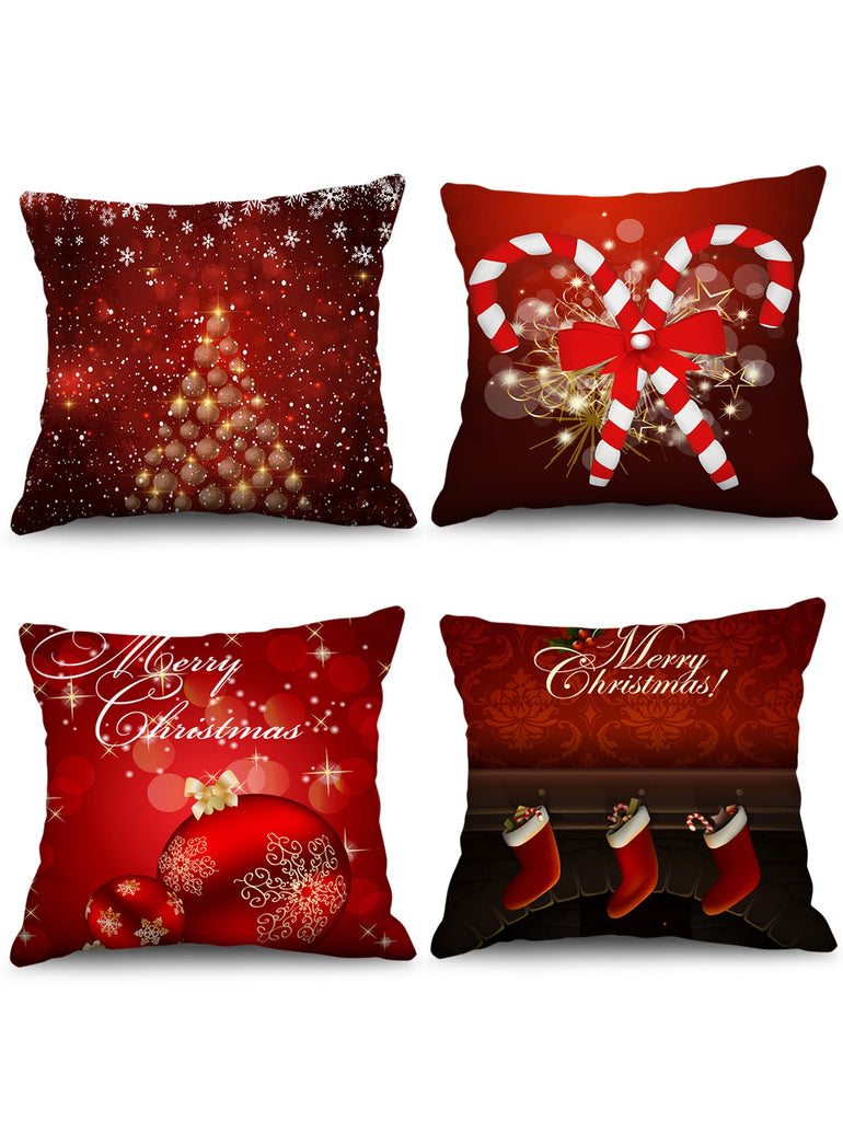 4PCS Christmas Ball Candy Cane Stocking Printed Pillow Cover