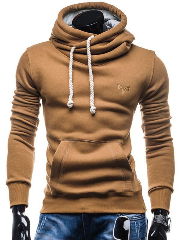 Whole Colored Drawstring Casual Hoodie Men's Hoodies & Sweatshirts CAMEL BROWN S