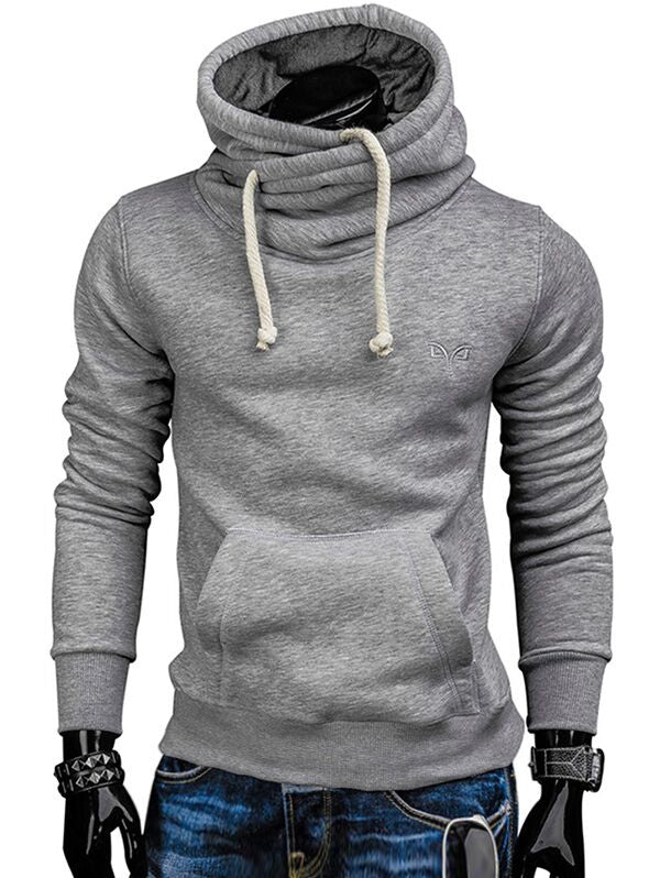 Whole Colored Drawstring Casual Hoodie Men's Hoodies & Sweatshirts LIGHT GRAY L