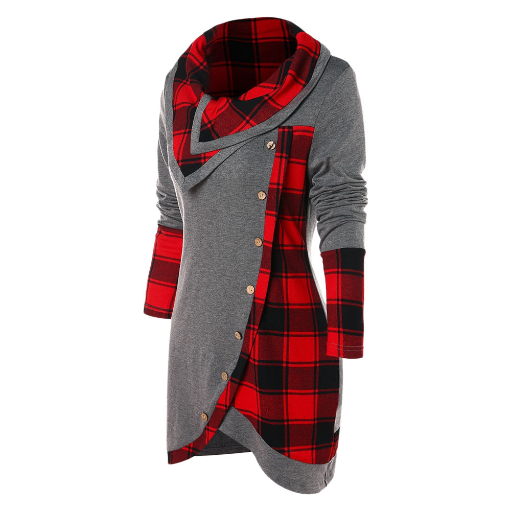 Tartan Panel Cowl Neck Tulip Front T-shirt Women's Hoodies & Sweatshirts GRAY CLOUD 2XL