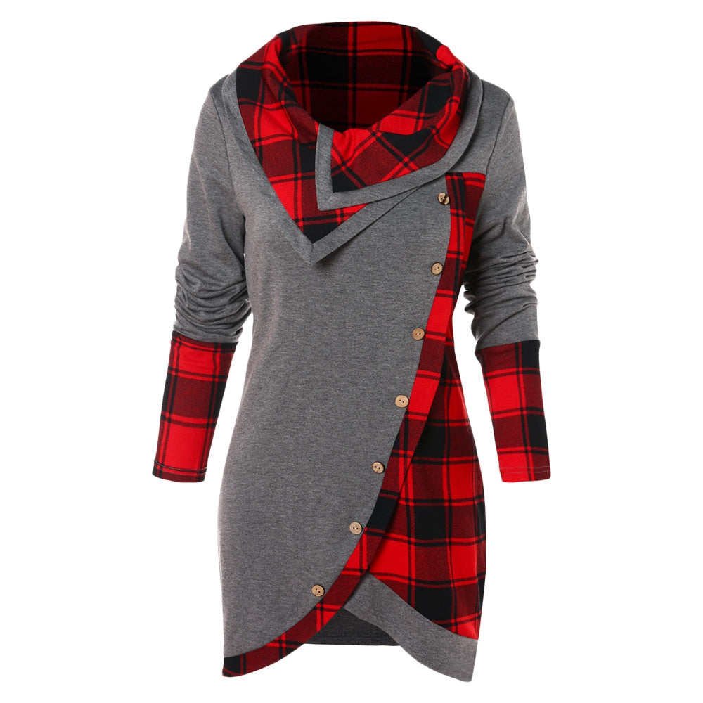 Tartan Panel Cowl Neck Tulip Front T-shirt Women's Hoodies & Sweatshirts GRAY M