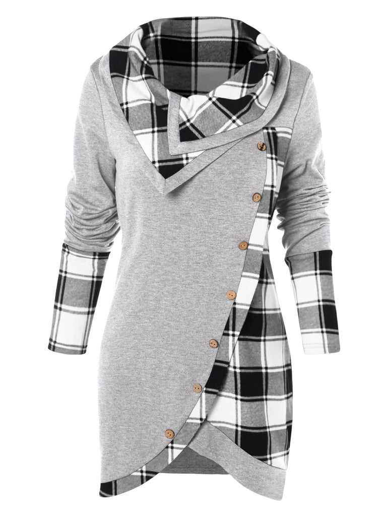 Tartan Panel Cowl Neck Tulip Front T-shirt Women's Hoodies & Sweatshirts LIGHT GRAY M