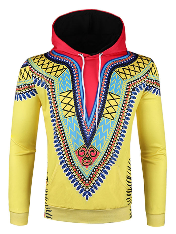 Tribal 3D Print Pullover Hoodie Men's Shirts YELLOW L