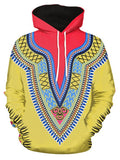 Tribal 3D Print Pullover Hoodie Men's Shirts YELLOW M
