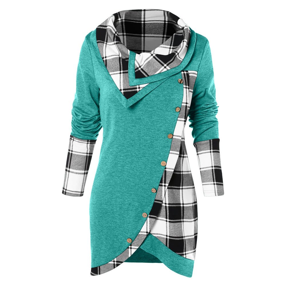 Tartan Panel Cowl Neck Tulip Front T-shirt Women's Hoodies & Sweatshirts BLACK XL
