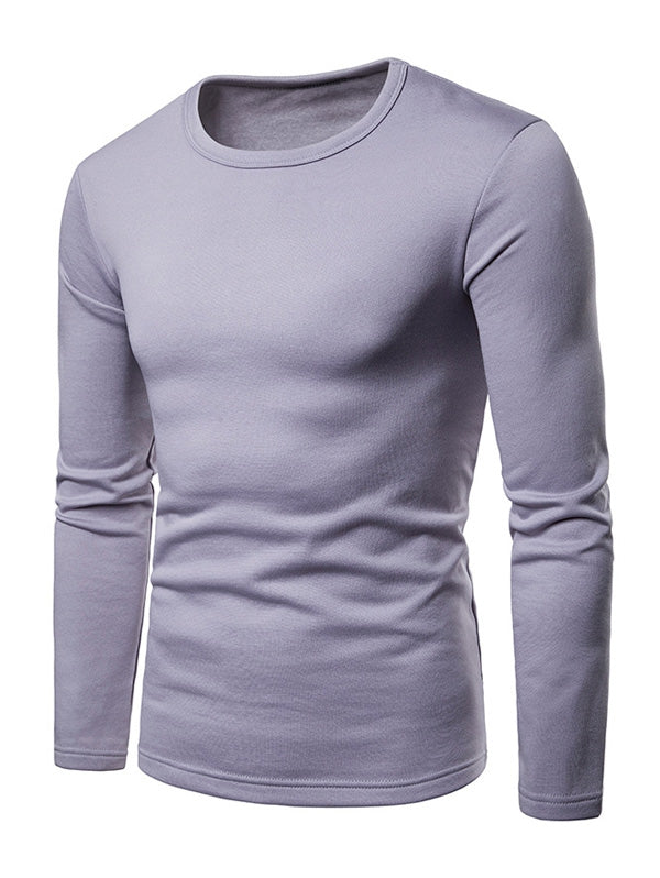 Basic Solid Color Fleece T-shirt Men's T-Shirts LAVENDER BLUE 2XL
