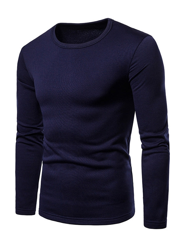 Basic Solid Color Fleece T-shirt Men's T-Shirts DARK SLATE BLUE 2XL