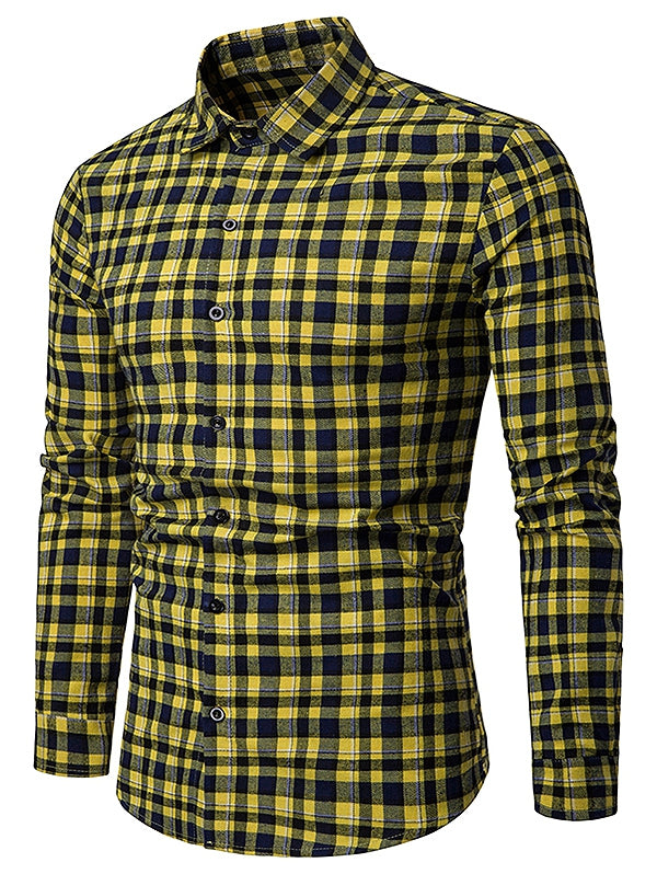Contrast Tartan Print Casual Long Sleeve Shirt Men's Shirts YELLOW M