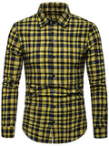 Contrast Tartan Print Casual Long Sleeve Shirt Men's Shirts BLACK M