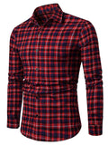 Contrast Tartan Print Casual Long Sleeve Shirt Men's Shirts YELLOW L