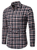 Contrast Tartan Print Casual Long Sleeve Shirt Men's Shirts RED M