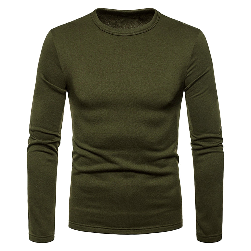 Basic Solid Color Fleece T-shirt Men's T-Shirts ARMY GREEN 2XL