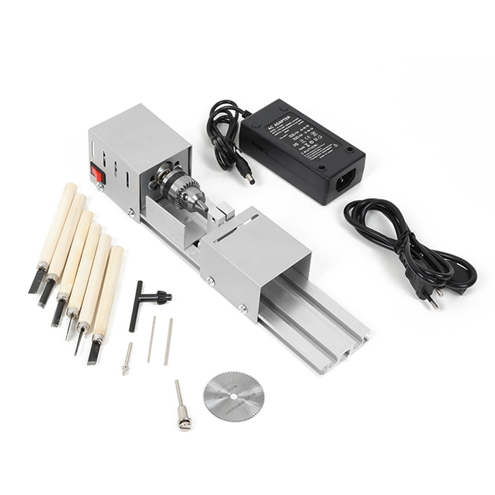 96W Mini Lathe Beads Machine Woodworking DIY Standard Set with Power Carving Cutter MULTI Wood Carving Tools