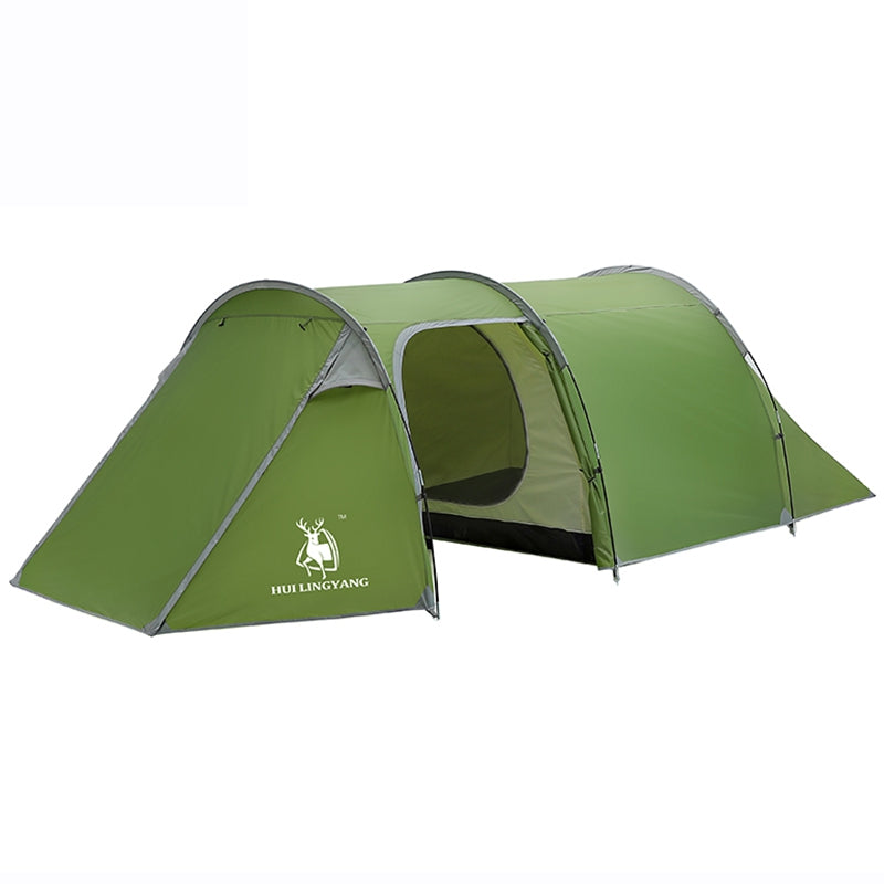 HUILINGYANG One-room and One-bedroom Double-layer Rain-proof Tunnel Tent Camping Tents SEA TURTLE GREEN