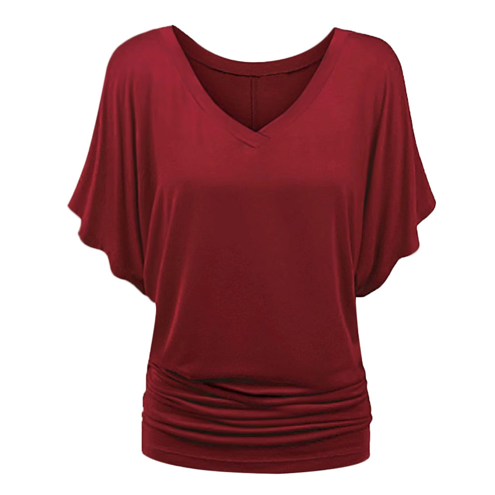Batwing Sleeve V Neck Ruched Women T-shirt Women's Clothing RED WINE L