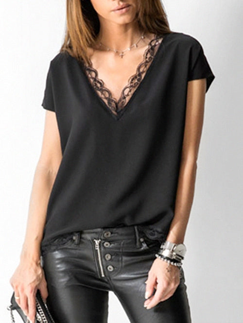 Plunge Lace Panel Blouse