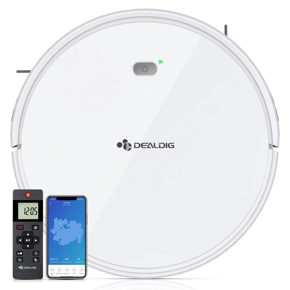 DEALDIG Robvacuum 8 Robot Vacuum Cleaner with WiFi Connectivity Work for Alexa WHITE WITH US AND EU PLUGRobot Vacuum Cleaners