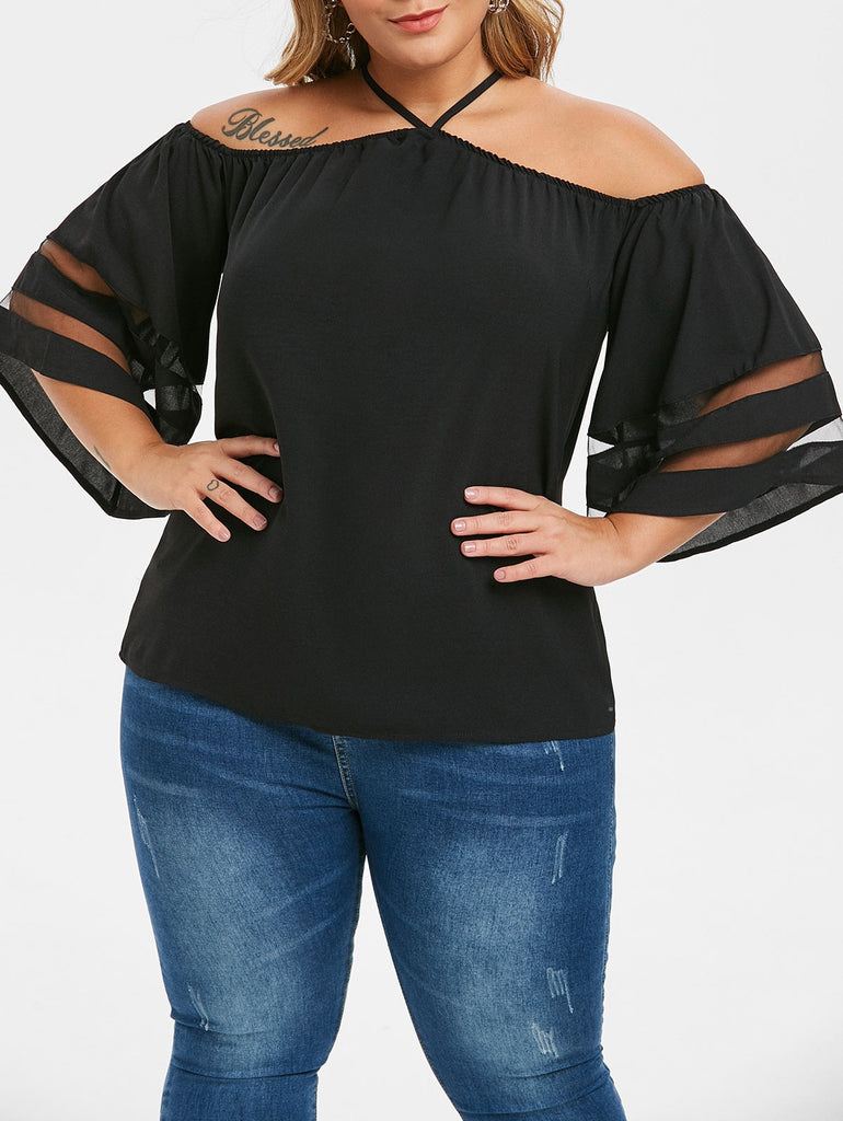 Keyhole Mesh Panel Open Shoulder Plus Size Blouse Plus Size Women's Clothing BLACK 1X