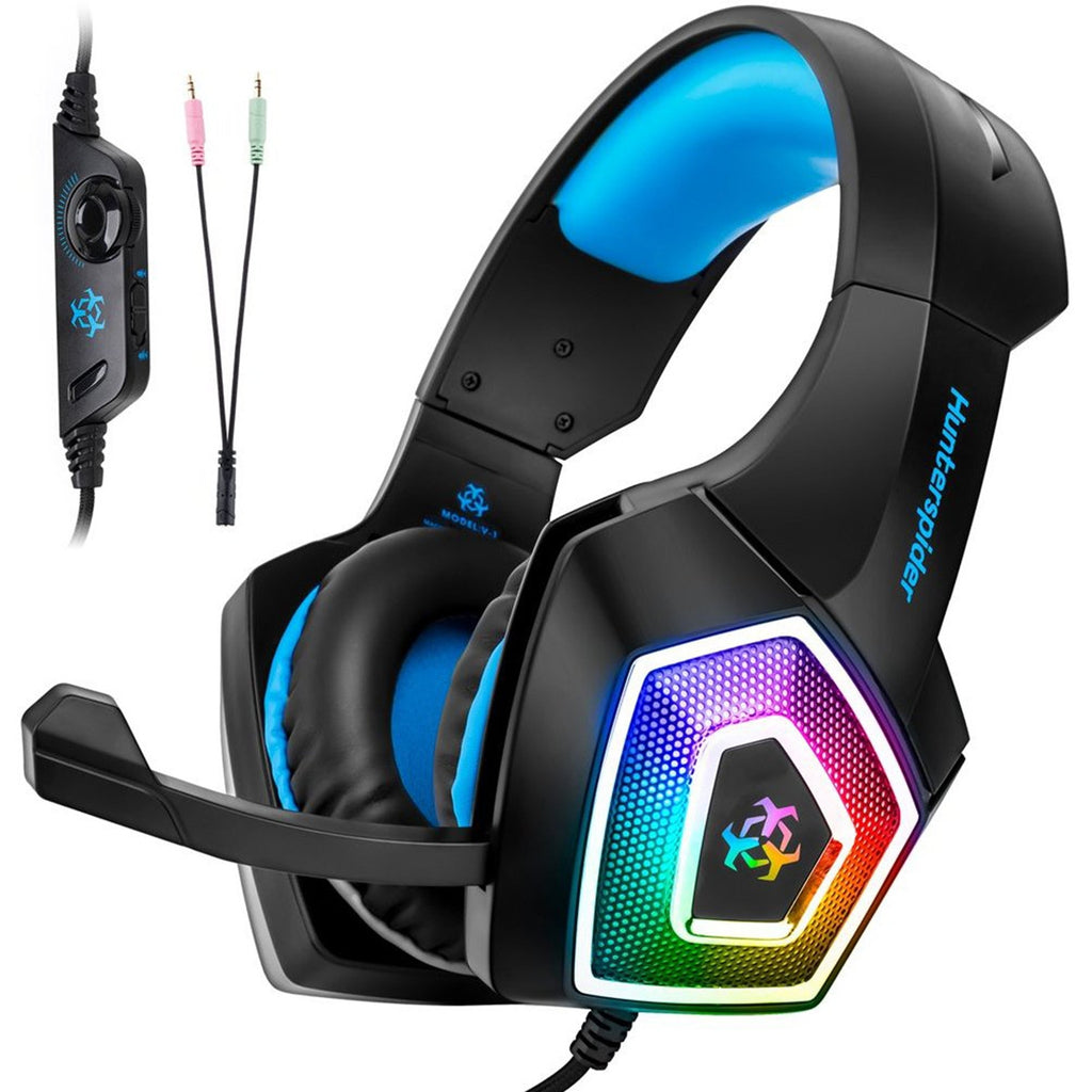 V1 Gaming Headset PS4 Computer Game Headphones with LED Light BLUE Earphones & Headphones