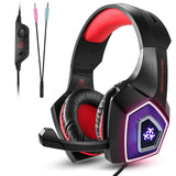 V1 Gaming Headset PS4 Computer Game Headphones with LED Light RED Earphones & Headphones