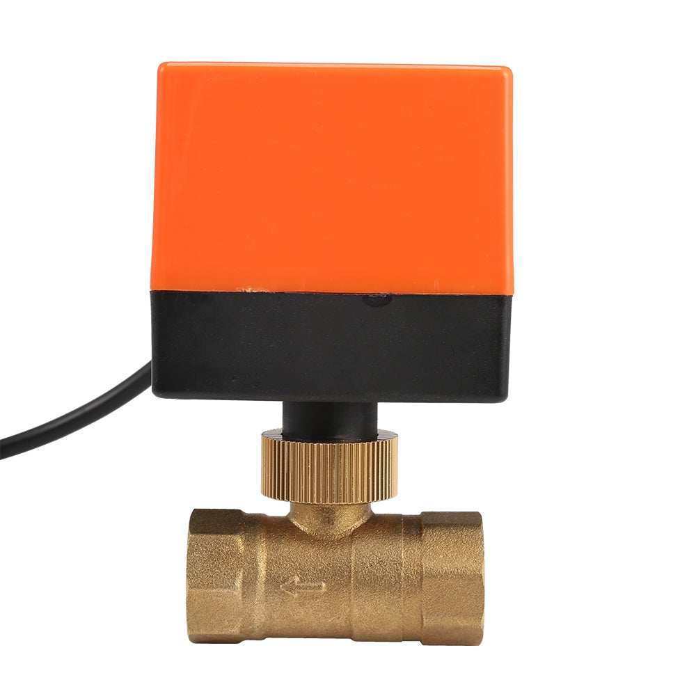 220V Electric Motorized Thread Ball Valve Air-conditioning Water System Controller 2-way 3-wire ORANGE DN25 Measuring Tools