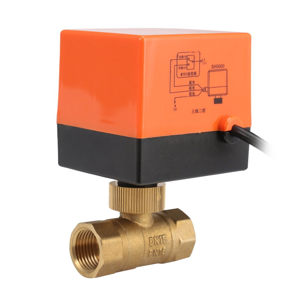 220V Electric Motorized Thread Ball Valve Air-conditioning Water System Controller 2-way 3-wire ORANGE DN15 Measuring Tools