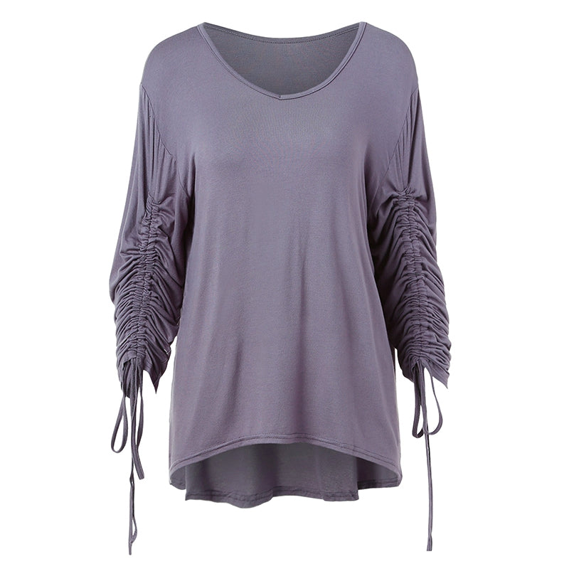 Long Sleeve Asymmetrical T-shirt with Drawstring