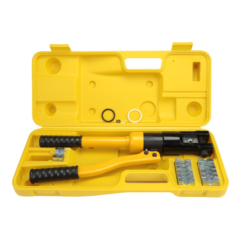 YQ - 120 Hydraulic Pressure Clamping Pliers Kit with Dies Steel Cutter Power Tool YELLOW Hand Tools