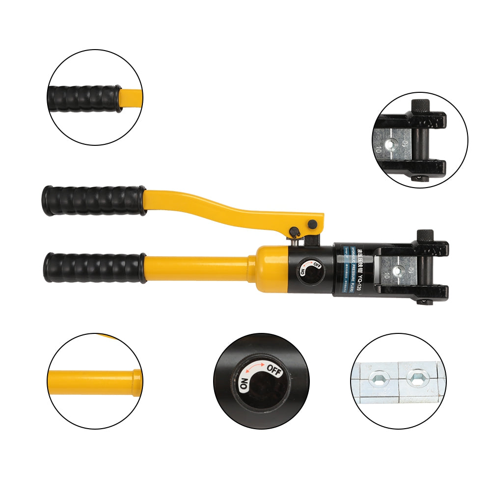 YQ - 120 Hydraulic Pressure Clamping Pliers Kit with Dies Steel Cutter Power Tool