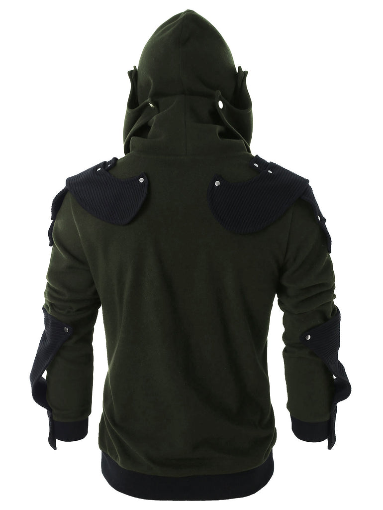 Rivet Long Sleeve Drawstring Pullover Hoodie Men's Hoodies & Sweatshirts BLUE GRAY L
