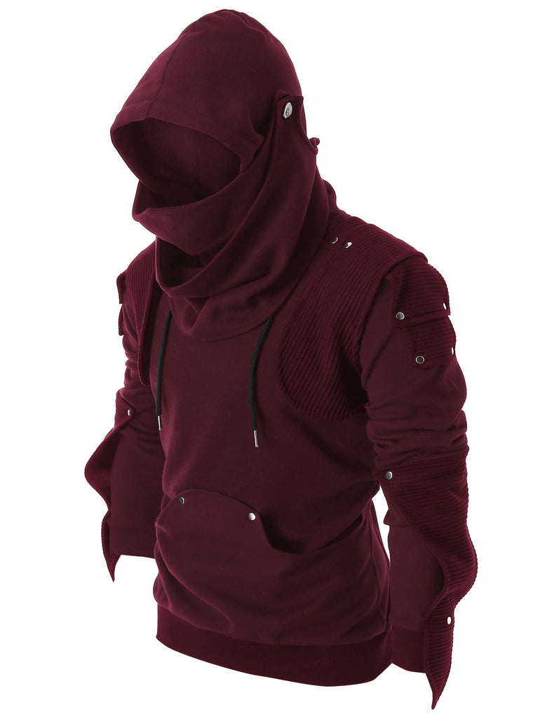 Rivet Long Sleeve Drawstring Pullover Hoodie Men's Hoodies & Sweatshirts COFFEE S