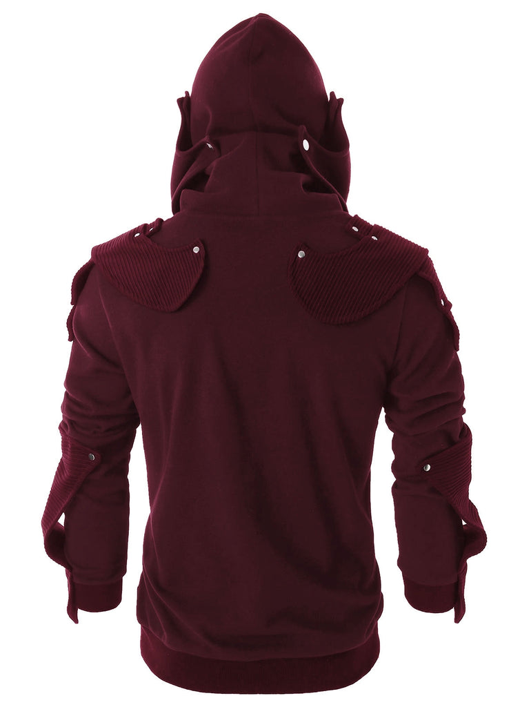 Rivet Long Sleeve Drawstring Pullover Hoodie Men's Hoodies & Sweatshirts FIREBRICK M