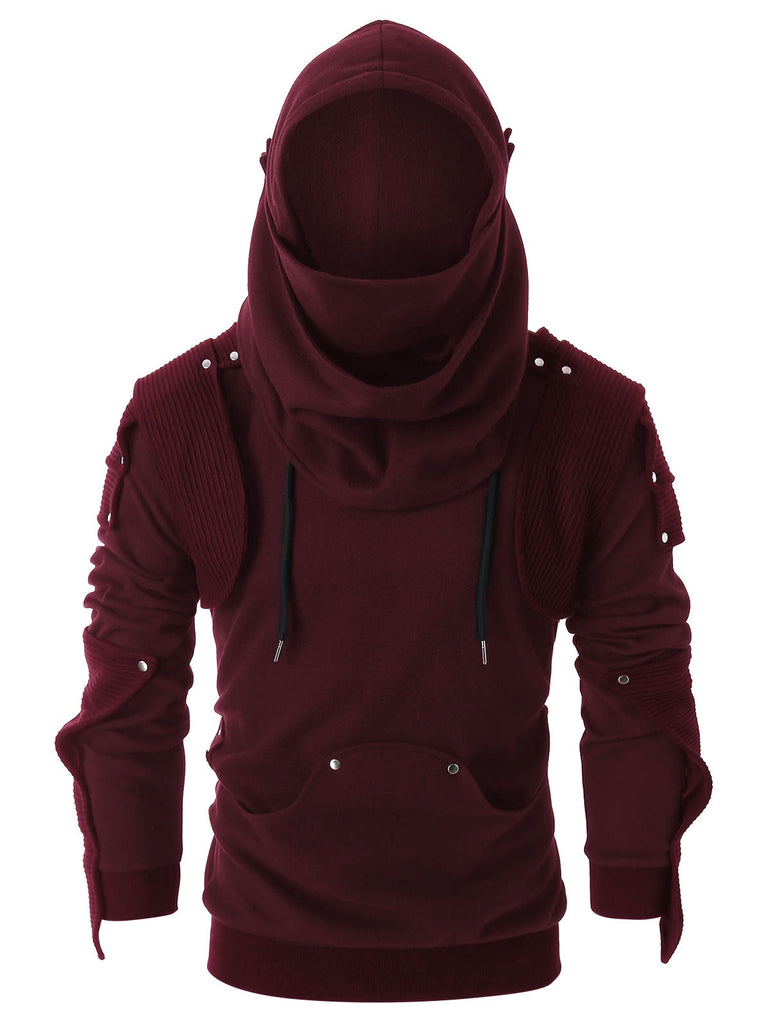 Rivet Long Sleeve Drawstring Pullover Hoodie Men's Hoodies & Sweatshirts FIREBRICK L
