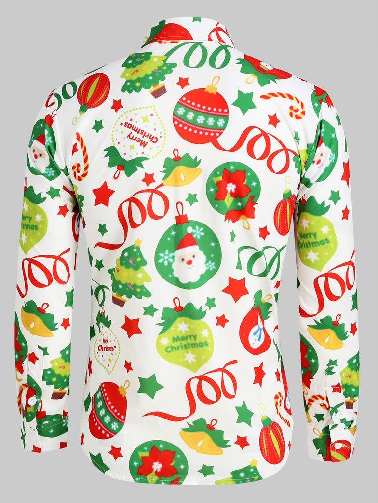 Christmas Pattern Ball Star Candy Long Sleeve Button Shirt Men's Shirts MULTI L