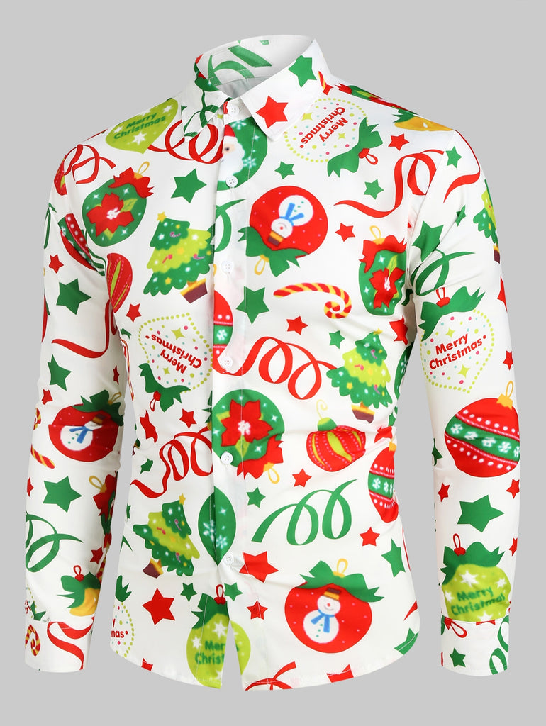 Christmas Pattern Ball Star Candy Long Sleeve Button Shirt Men's Shirts MULTI 2XL