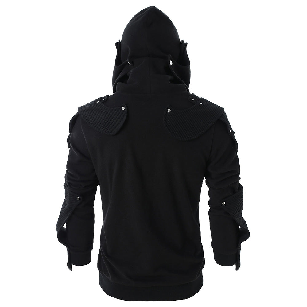 Rivet Long Sleeve Drawstring Pullover Hoodie Men's Hoodies & Sweatshirts COFFEE 2XL