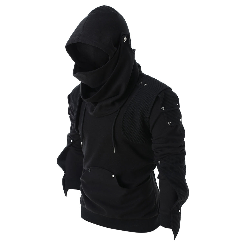 Rivet Long Sleeve Drawstring Pullover Hoodie Men's Hoodies & Sweatshirts BLACK M