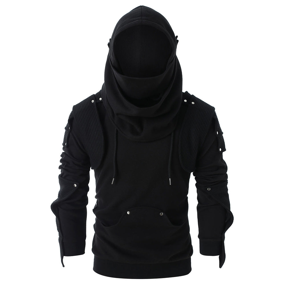 Rivet Long Sleeve Drawstring Pullover Hoodie Men's Hoodies & Sweatshirts COFFEE L