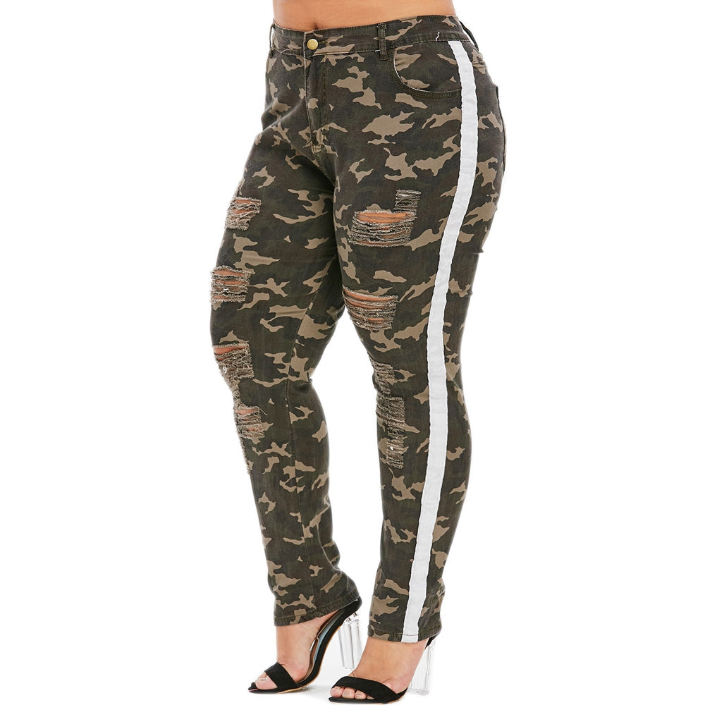 Distressed Camo Piping Plus Size Jeans Plus Size Women's Clothing CAMOUFLAGE GREEN 2X