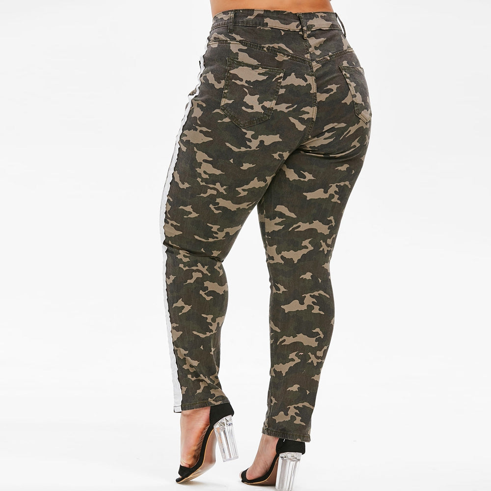 Distressed Camo Piping Plus Size Jeans