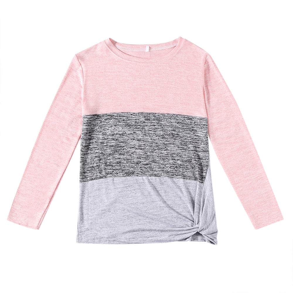 Bat Sleeve Round Neck Loose Color Splice Women T-shirt Women's T-Shirts MULTI-C 2XL