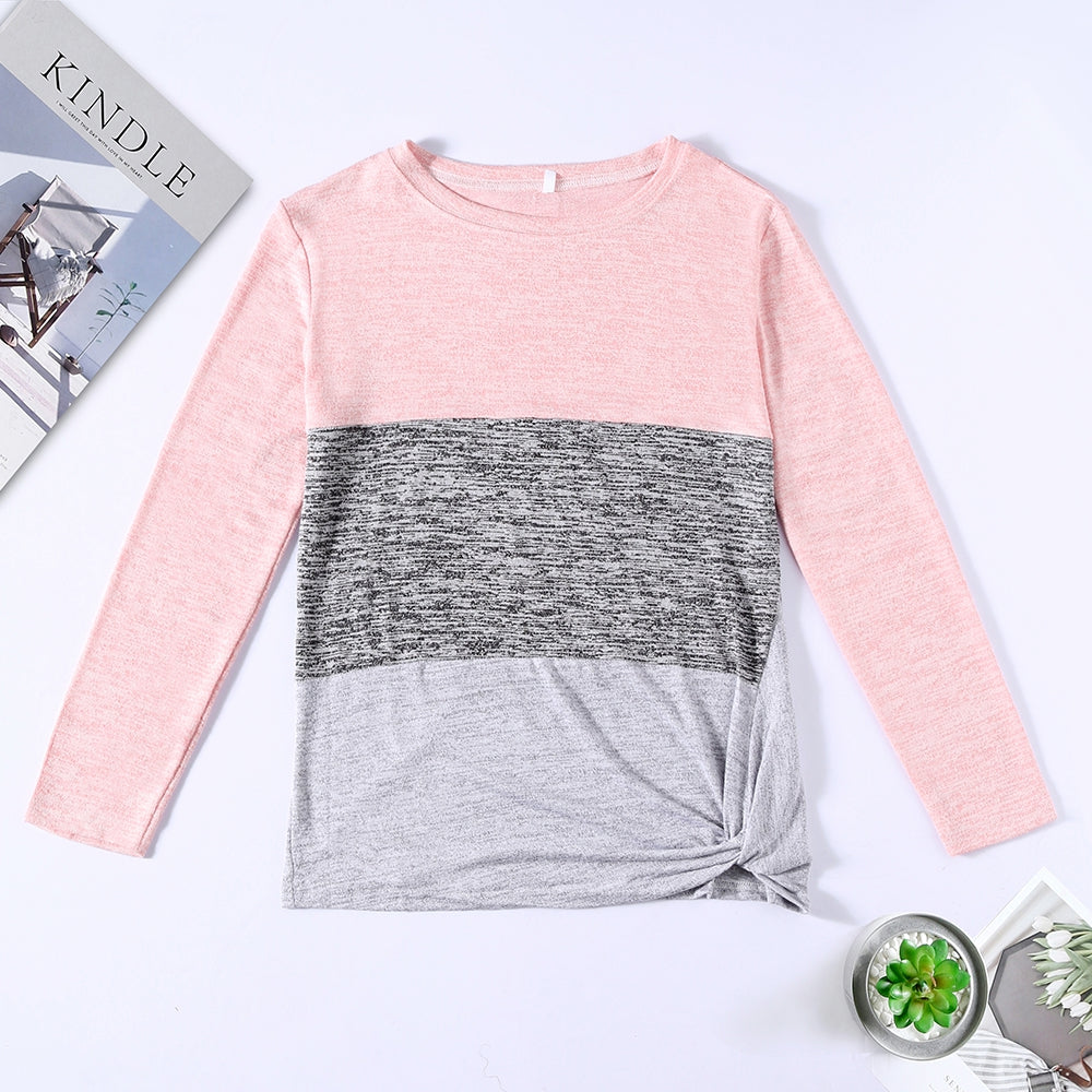 Bat Sleeve Round Neck Loose Color Splice Women T-shirt Women's T-Shirts MULTI-E XL