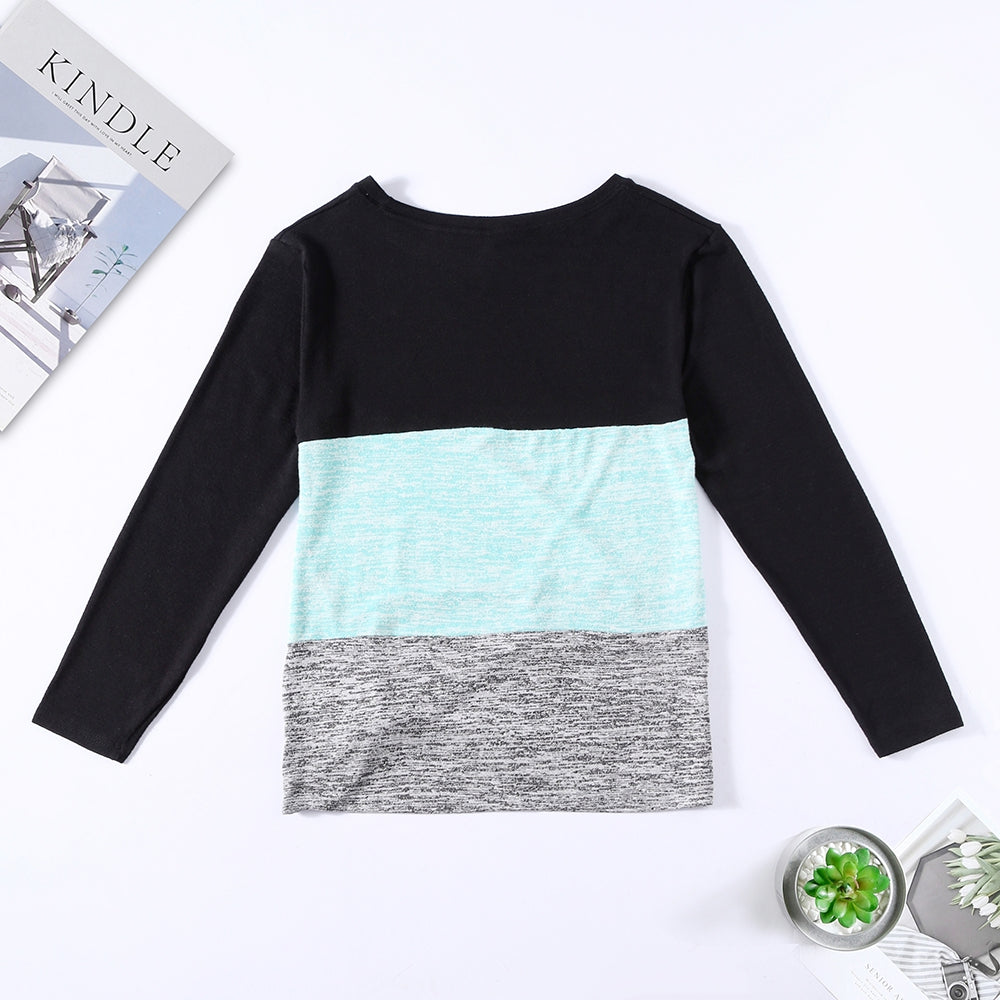 Bat Sleeve Round Neck Loose Color Splice Women T-shirt Women's T-Shirts MULTI-D 2XL