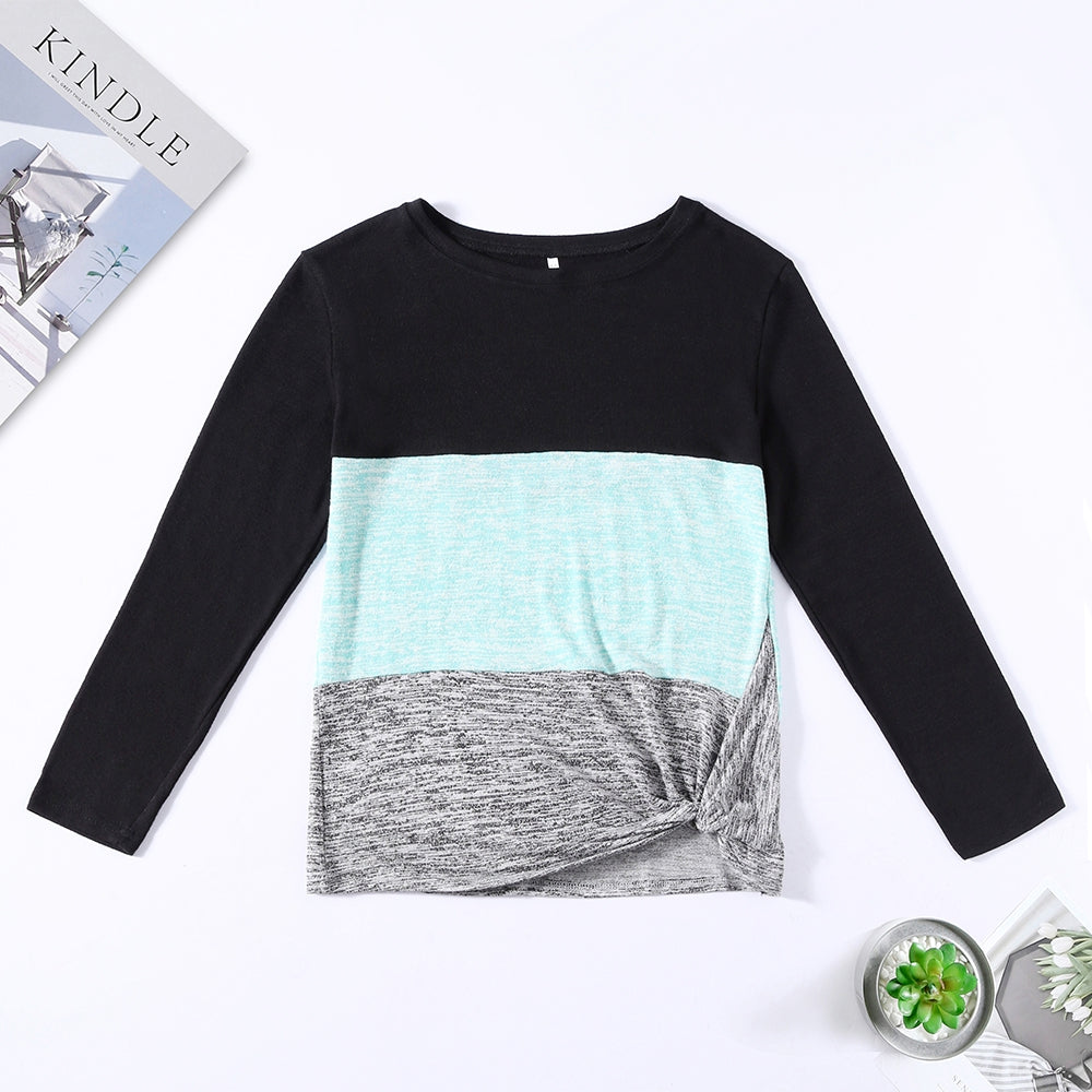 Bat Sleeve Round Neck Loose Color Splice Women T-shirt Women's T-Shirts MULTI-D XL